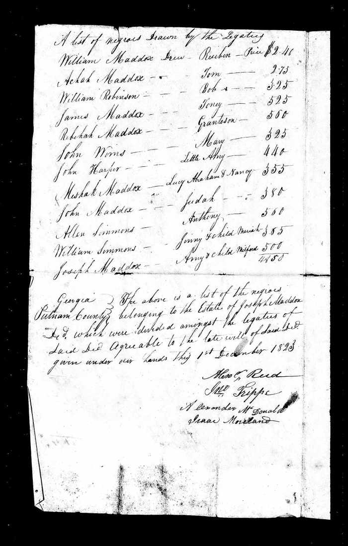 1823 distribution of slaves - Joseph Maddox