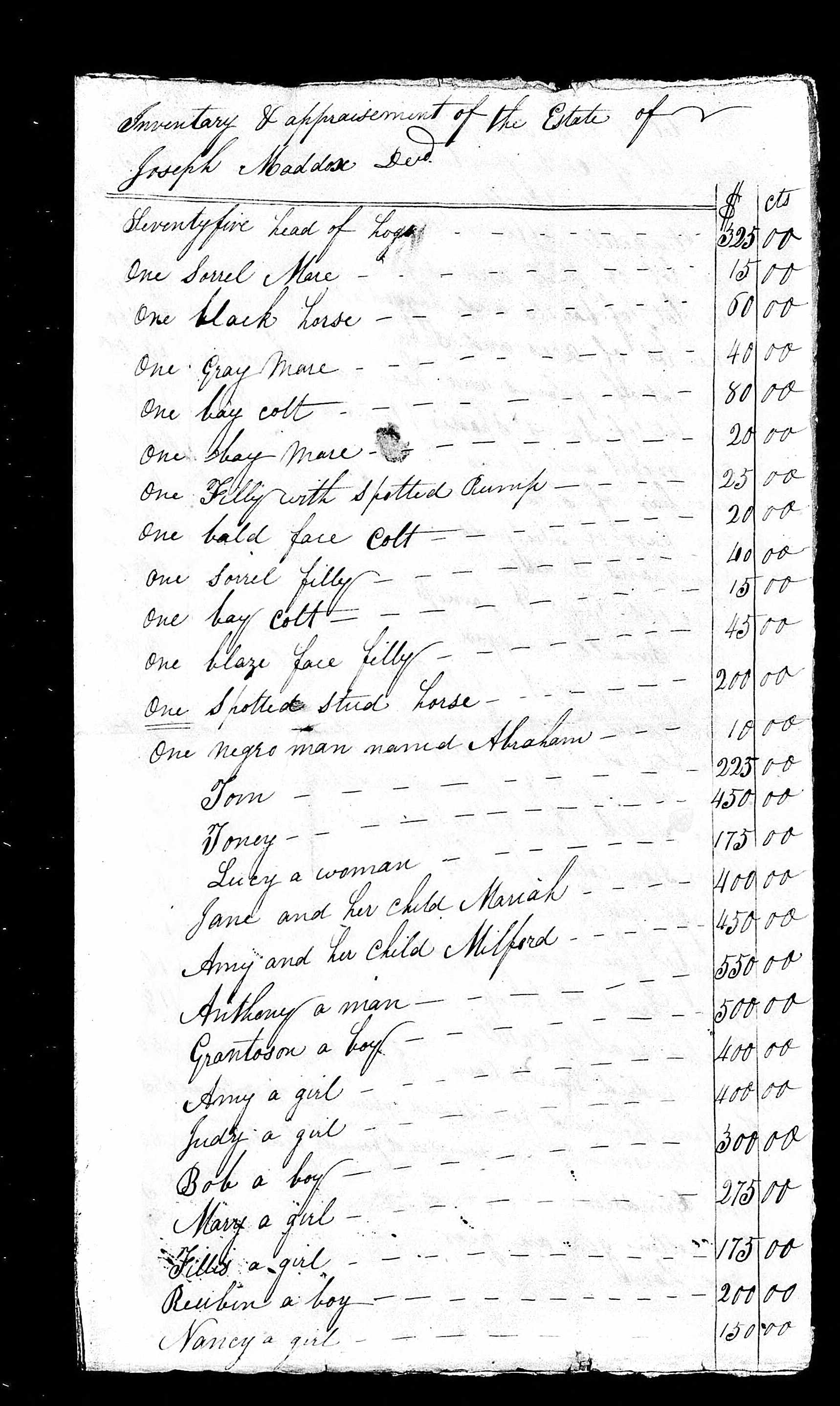 1823 - Inventory list of Joseph M Maddox (p1)