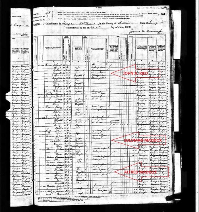 1880 CENSUS-HALF ACRE-PUTNAM-GA-ALFRED MADDOX