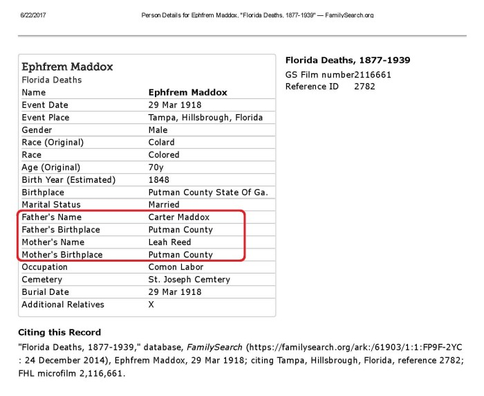 death - Ephfrem Maddox, _Florida Deaths, 1877-1939_ — FamilySearch (parents circled)