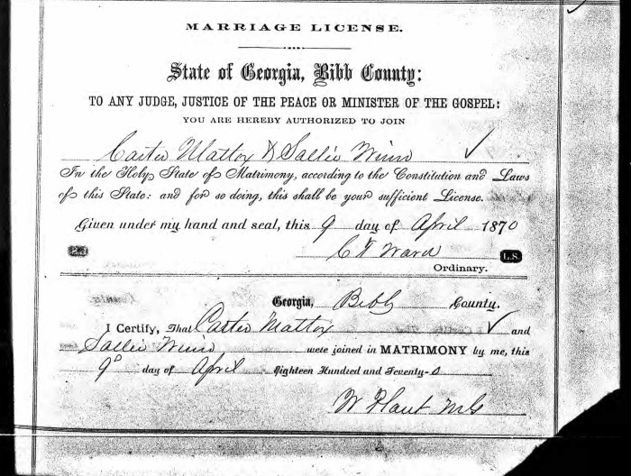 Marriage cert - Carter Maddox & Sally Winn 1870 Putnam GA