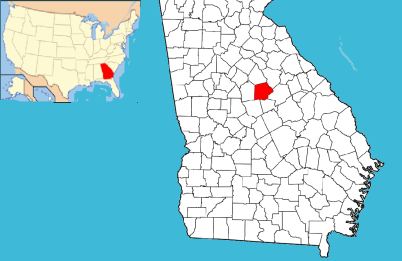 Map of Georgia divided by counties with Putnam County highlighted in red