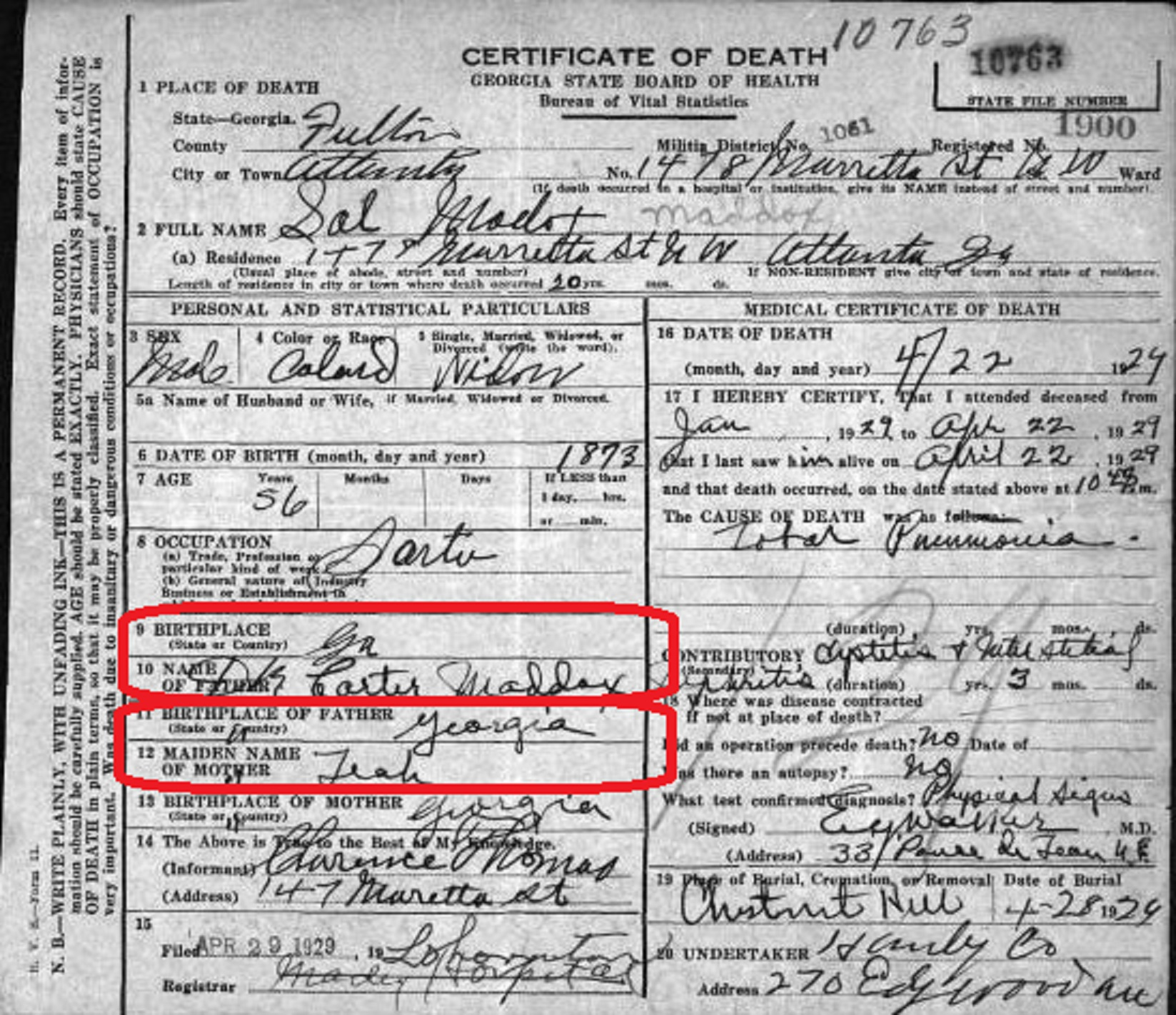 solomon maddox full death certificate (with Carter circled)