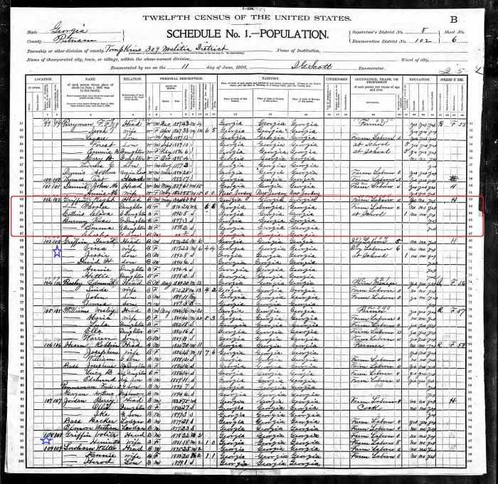 1900 - US Census - Putnam County GA -Wright Griffin.jpg