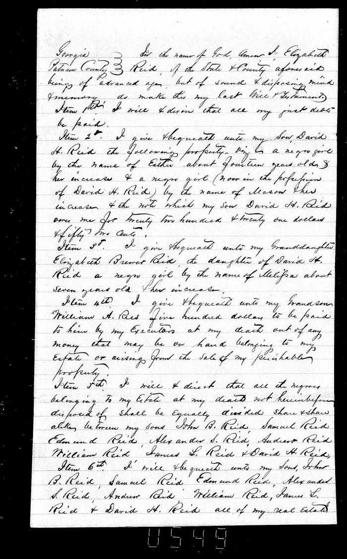Will pg 1- Elizabeth Reid (written Feb 19 1856)